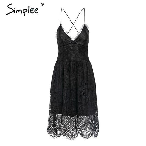 Sexy v lace embroidery strap lace up midi dress