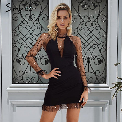 Sexy mesh transparent high waist mini dress