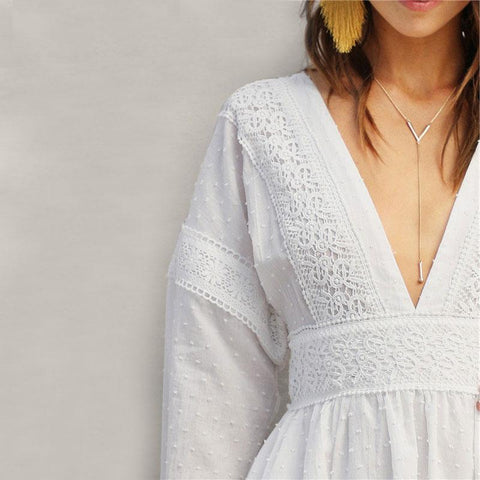 Sexy Boho Guipure Lace Dot dress