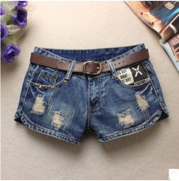 Beggars Shorts Jean Low Waist Shorts Without Belt Printing  Denim shorts