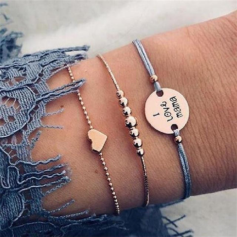 30 Style Boho Bangle Elephant Heart Shell Star Moon Bow Map Crystal Bead Bracelet