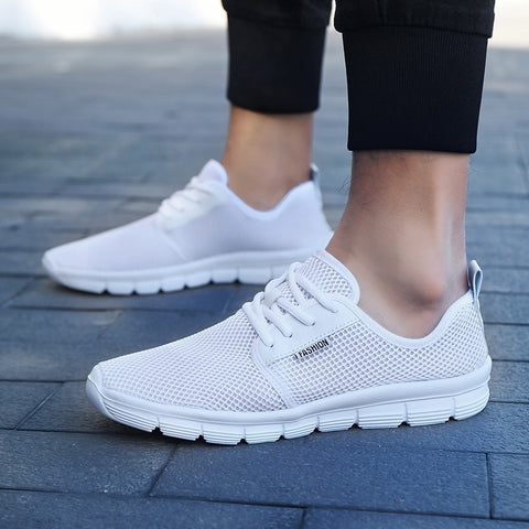 Lightweight Summer Casual Shoes Mesh Breathable Lace Up Couple Shoes Men Flats Sneakers