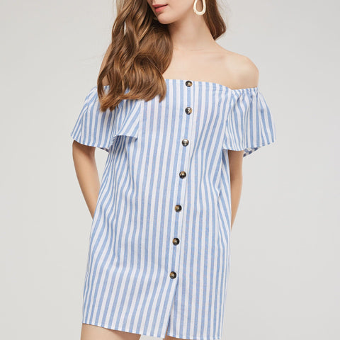 Slash Neck Blue Striped Butterfly Sleeve Straight Mini Dress