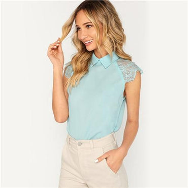 \Green Elegant Blouse Contrast Lace Top Office Ladies Workwear Turn Down Collar Sleeveless  Summer Tops and Blouses
