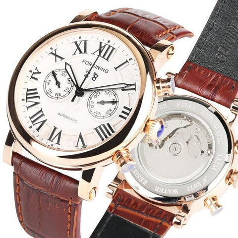 Transparent Golden Case Luxury Casual Design Mens Watches