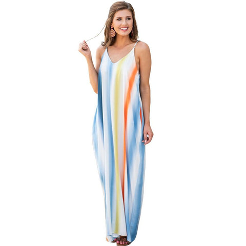 New Fashion V-Neck Strap Maxi Dress