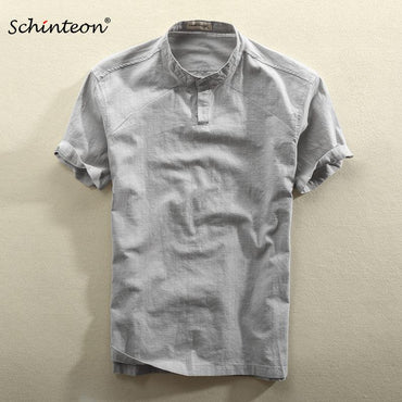 Casual Cotton Linen Shirt Summer Solid Color Thin Short Sleeve Stand Shirt