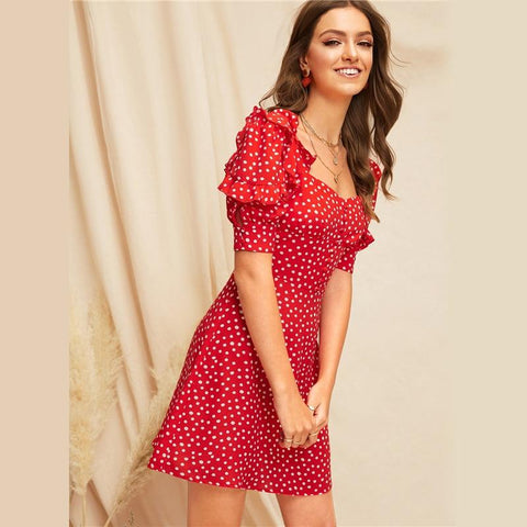 Red Bright Sweetheart Neck Ruffle Trim Polka Dot A Line Dress