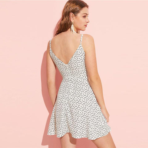 Sexy Wrap Double V-Neck Polka Dot A Line Mini Dress