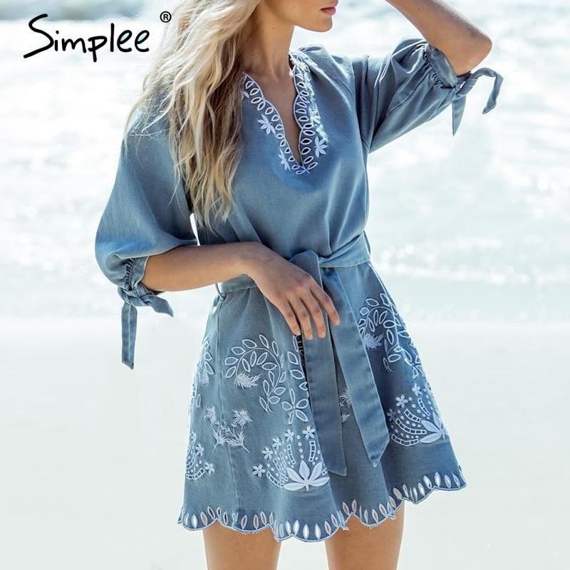 Hot fashion V neck embrodiery denim mini dress