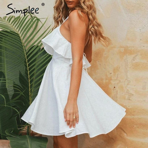 Elegant v-neck ruffle spaghetti strap A-line mini dress