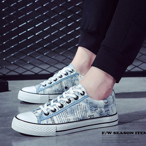 Spring Men Vulcanize Shoes Fashion Letter Print Canvas Lace Up Shoes