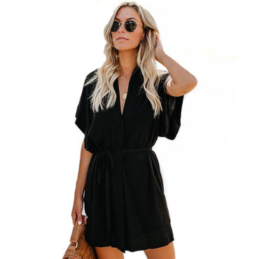 Sashes Robe Black Casual Mini Shirt Dress