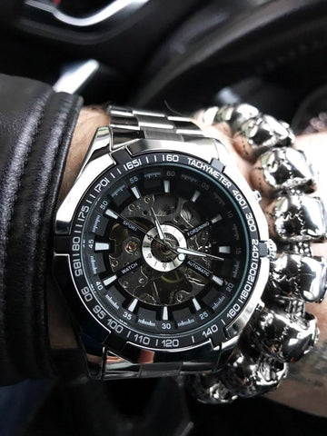 Silver Stainless Steel Waterproof Mens Skeleton Watches Top Brand Luxury Transparent Mechanical  Wrist Watch