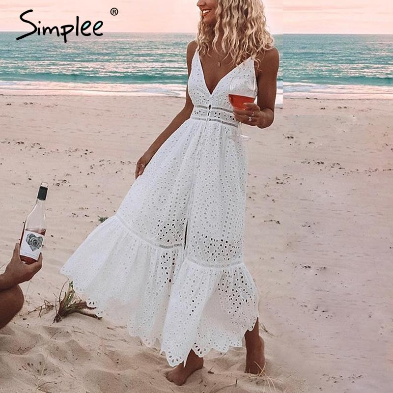 Embroidery white sexy V neck spaghetti strap pearl button maxi dress
