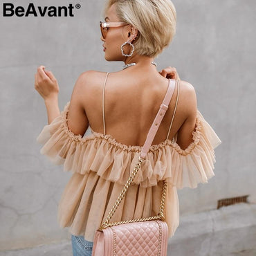 Backless sexy peplum top female Vintage ruffle mesh blouse