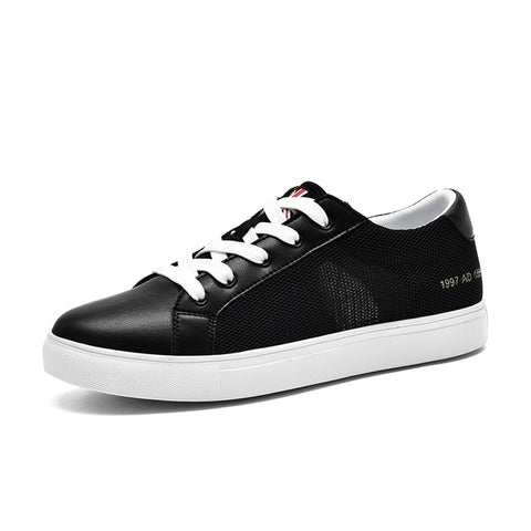 New Men Casual Shoes Breathable Wear Resistant Shoes Comfortable  White Round Toe Lace up Flat Sneakaers