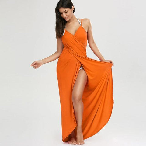 Sweet Wrap Slip Beach Maxi Dress