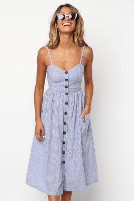 Button Striped Print Cotton Linen Casual  Dress