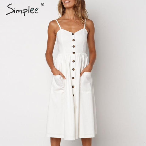 Elegant striped Buttons strap cotton midi dress