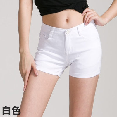 Solid White Black Denim Shorts