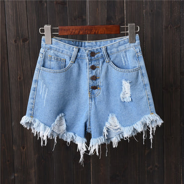 Ripped Pocket Casual Denim Shorts