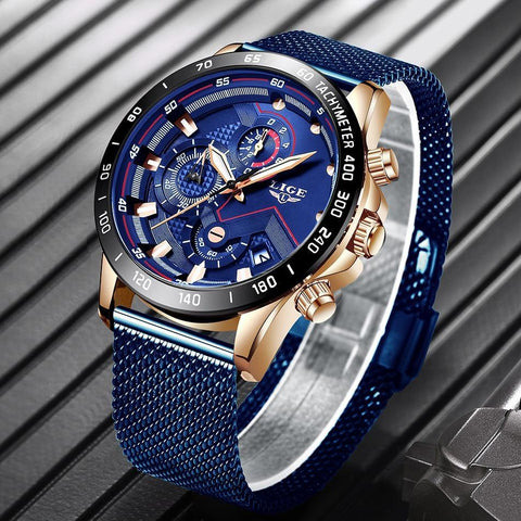 Blue Casual Mesh Belt Fashion Quartz Gold Watch