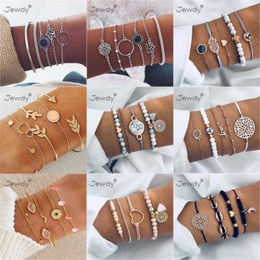 30 Styles Mix Lotus Shell Turtle Heart Wave LOVE Crystal Marble Stone Bracelets