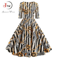 Half Sleeve Vintage A-Line Elegant Fit And Flare Casual Floral Print Party Dress