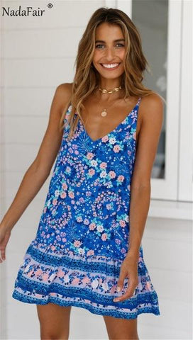 Daily Summer spaghetti strap boho sleeveless dress