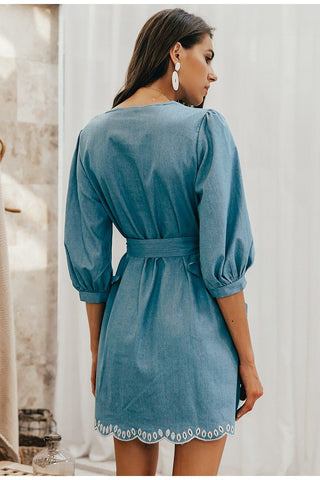 Summer v neck embroidery Lantern Sleeve denim dress