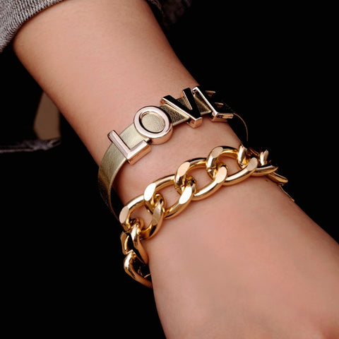 Punk Exaggerated Thick Chain LOVE Bracelet Bangle