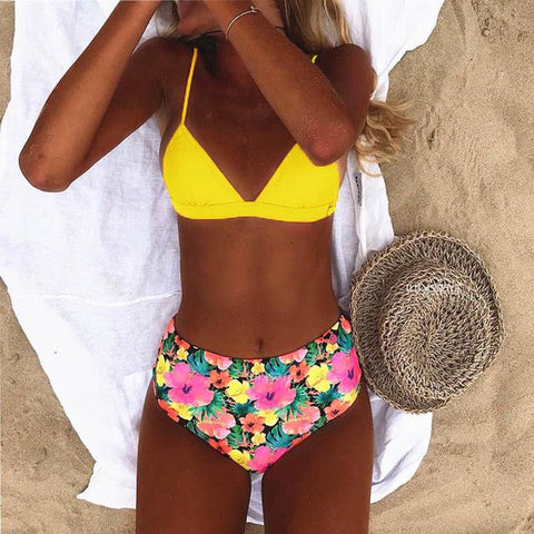 Sexy High Waist Dot Print Bikini swimwear Women Halter Push Up Bikini set