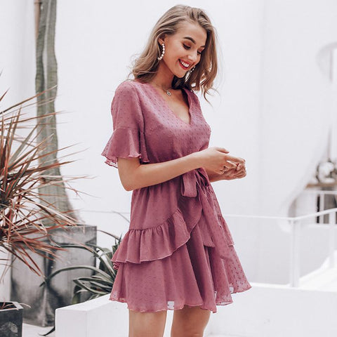 Sexy v-neck polka dot ruffle chiffon mini dress