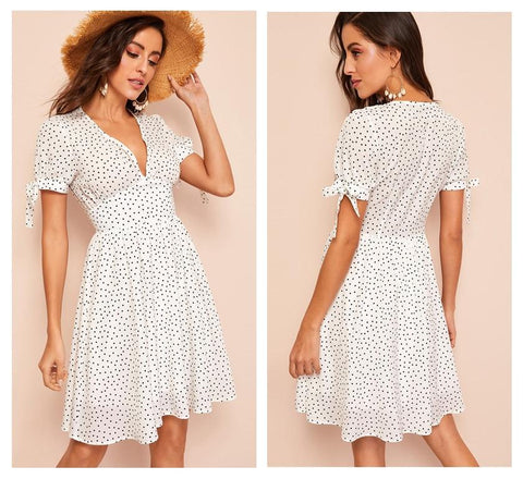 White Knotted Puff Sleeve Wide Waist Polka Dot Dress