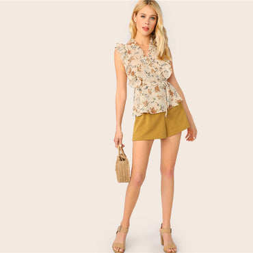 Apricot Boho Frill Trim Tie Waist Wrap Ladies Tops Women Casual Floral Print V Neck Sleeveless Slim Fit Summer Blouse