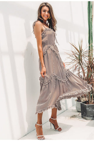 Elegant stripe Spagetti strap lace up midi dress