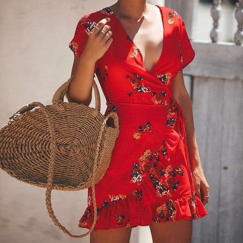 Casual Sexy Boho Floral Printed Ruffle Mini Dress