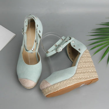 Rivets Espadrille Platform Wedges Heel Ankle Strap Shoes Bohemia Sandals