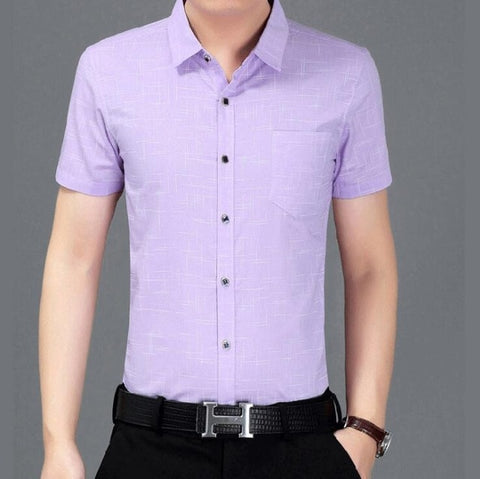 Plaid Slim Fit  Cotton Casual Social Shirt