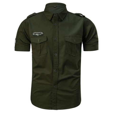 Men Casual Cotton Military Style Short Sleeve Slim Shirt