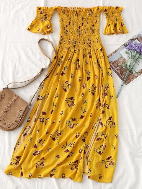 Off Shoulder Floral Slit Midi Dress Casual Sweet Summer Beach Dresses