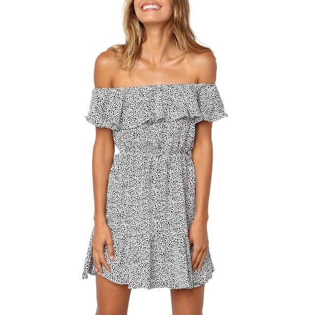 Casual Short Sleeve Polka Dot Off Shoulder Ruffles Sexy Mini Dress