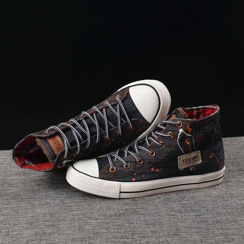 Men Denim Shoes Men Casual Shoes Breathable High top Sneakers Men Shoes Street Footwear