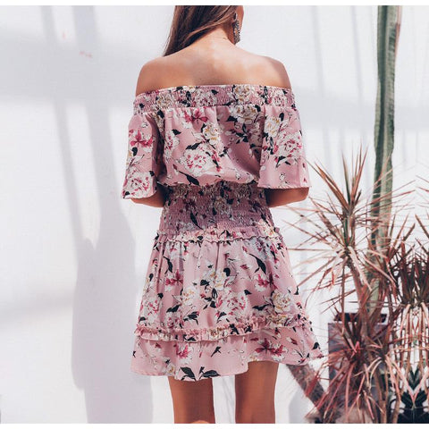 Boho Off shoulder high waist floral print dress