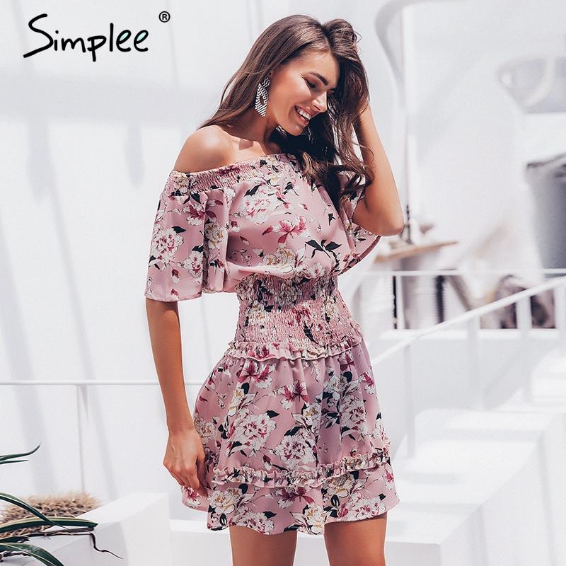 Boho off shoulder floral print ruffle ruched mini dress