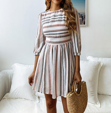 Vintage Striped Cotton Office A-Line Dress
