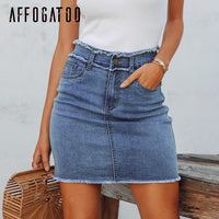 Casual zipper  denim skirt