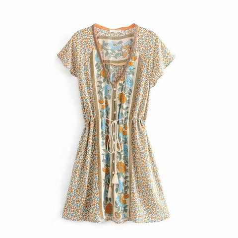 Hippie Floral Print Lace up Waist Butterfly Sleeve Mini Dress