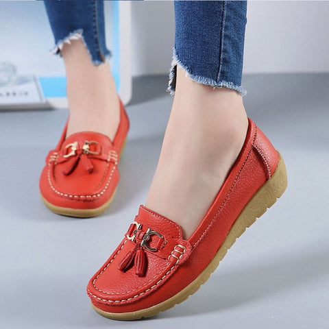 Cut Out Leather Breathbale Moccain Flat Shoes